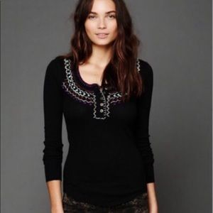 Free People Thermal Henley Embroidered Top